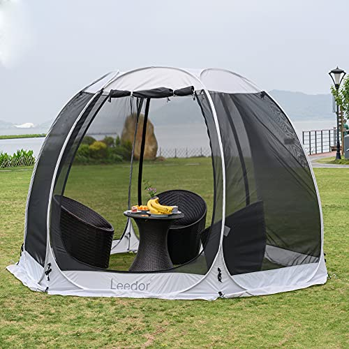 Leedor Gazebos for Patios Screen House Room 4-6 Person Canopy Mosquito Net Camping Tent Dining Pop Up Sun Shade Shelter Mesh Walls Not Waterproof Gray,10'x10'