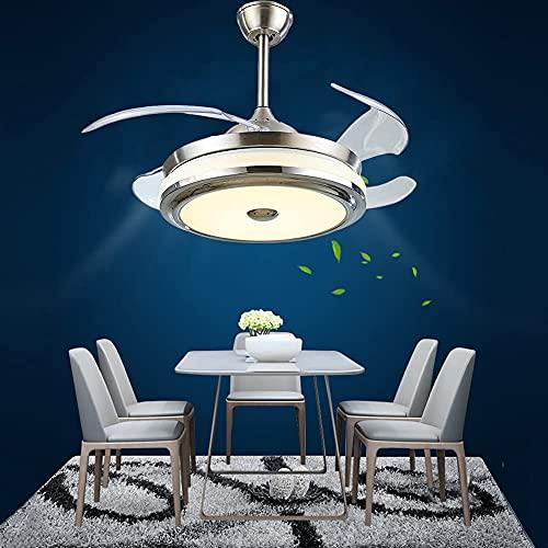 WHYIN Ventilador de techo de 36 pulgadas con luz y alas retráctiles, mando a distancia, lámpara LED de 3 colores, 3 cambios de velocidad del viento, para salón, dormitorio, restaurante