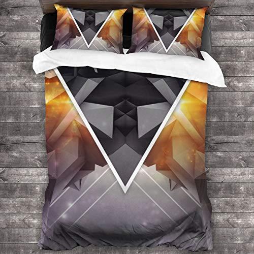 AIMILUX Funda Edredón,Fondo de Arte Digital 3D,triángulos y Cuadrados tridimensionales,Ropa de Cama Funda Nórdica,1(240x260cm)+2(50x80cm)