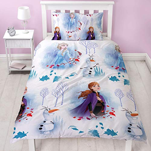 Frozen 2 Official Disney Single Reversible Two Sided Anna, Elsa & Olaf Element Design Bedding Duvet Cover with Matching Pillow Case, White