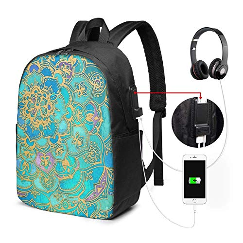 Lawenp Sapphire Jade Stained Glass Mandalas Travel Laptop Backpack,Business Anti Theft Slim Durable with USB Charging Port, College School Computer Bag Bookbag Casual Hiking Daypack for Women Men