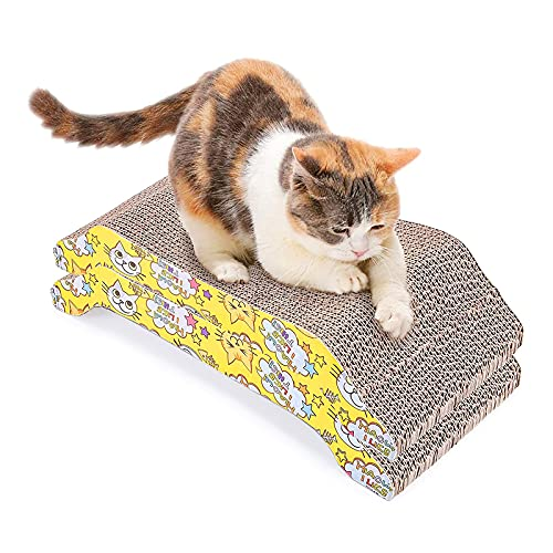 PETTOM Rascador para Gatos Carton Corrugado Reciclable 2 PCS para Gatos Pequeños Medianos Grandes Garra Grind Descanso Ejercicio Descansando