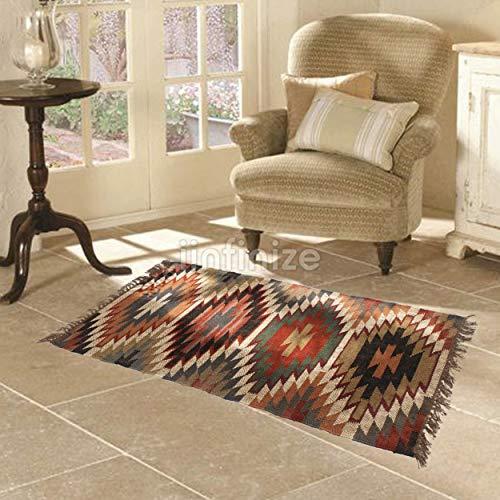 iinfinize – Alfombra tejida a mano de lana de yute turco, alfombra de suelo kilim, decoración del hogar, alfombra de cocina, alfombra de meditación, para interiores y exteriores