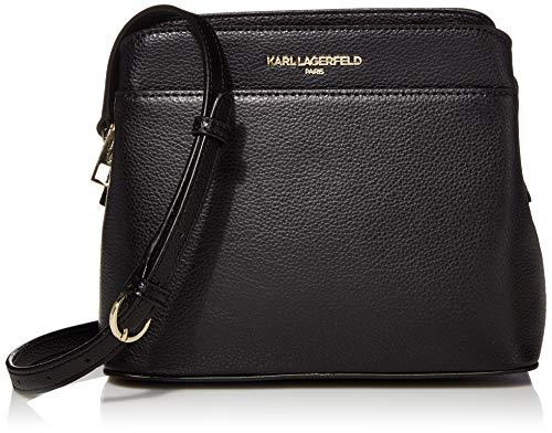 Karl Lagerfeld Paris Damen IRIS HERMINE TRIPLE ENTRY CROSSBODY Umhängetasche, schwarz/gold, Einheitsgröße
