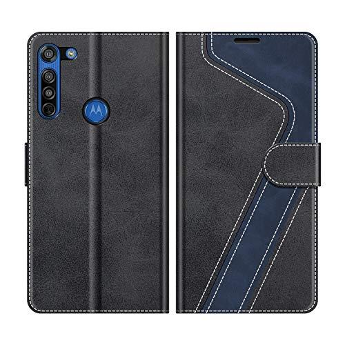 MOBESV Handyhülle für Motorola Moto G8 Hülle Leder, Motorola Moto G8 Klapphülle Handytasche Hülle für Motorola Moto G8 Handy Hüllen, Modisch Schwarz
