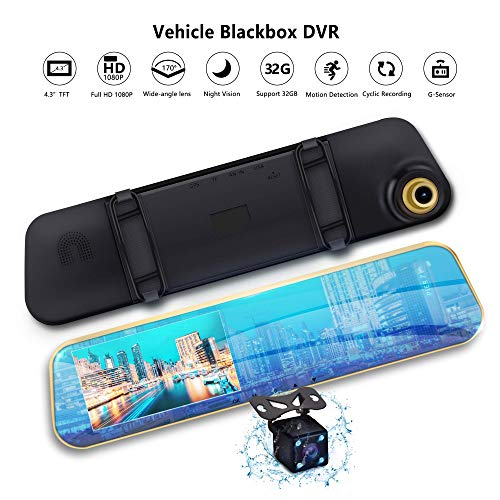 """Mirror Dash Cam Dual Lens Car Camera Vehicle Driving DVR Detection Loop Recording 170°A+ Wide View Reverse Camera 1080P FHD 4.3"""" LCD"""