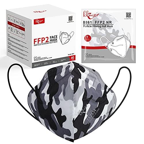 KKmier Mascarillas FFP2 Homologadas 40 Pcs, Mascarillas [Certificada CE 2834] con Pendientes Elásticos y Clip Nariz Adaptable, Protección de 5 capas y Filtración de Partículas (EFP) ≥95% (gris oscuro)