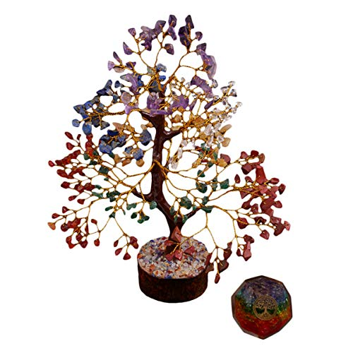 PYOR Combo of Seven Chakra Bonsai Tree Onyx Dodecahedron Symbol Tree of Life Ball Set Crystal Reiki Healing Aura Cleansing Chakra Balancing Home Office Decor Good Luck Prosperity Wealth