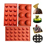 BAKER DEPOT Silicone Mould for Chocolate Cookie Rectangular Mousse Desert Biscuit Stick Bread Baking DIY (3 pcs Round Shape)