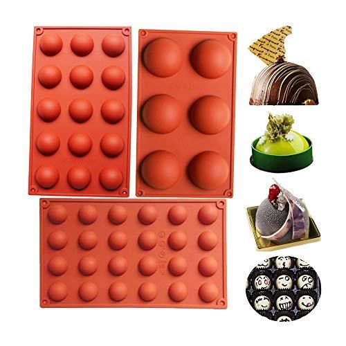 BAKER DEPOT Set de cuisson Set Silicone pour décoration de gâteau Pouding à la gelée Candy Chocolate 6 trous semicircle 15 trous demi-cercle 24 trous demi-cercle Chaque motif 1pc, Set of 3