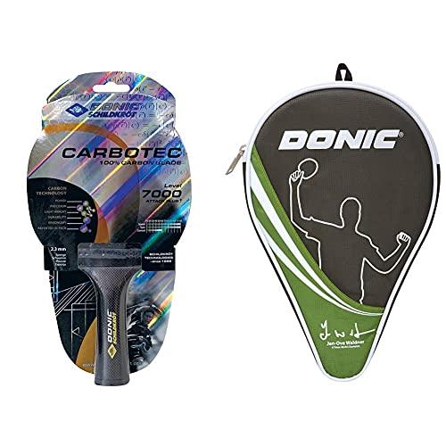 Donic-Schildkröt Raqueta de Tenis de Mesa CarboTec 7000, 100% de Carbono, Mango Cóncavo, Esponja de 2,3 mm, Almohadilla Liga-ITTF, 758216