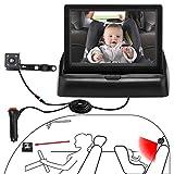 OBEST 4.3'monitor de coche de bebé, kit de monitorización de bebé de coche de visión nocturna de alta definición, con cámara, fácil de observar cada movimiento del bebé/niño en el asiento del coche