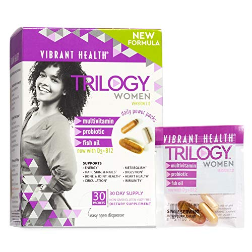 Vibrant Health, Trilogy Multi-Pack, Complete Men's and Women's Multivitamin, Fish Oil and Probiotic, for Women, 30 Packets