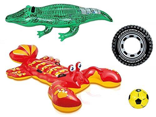 Kit piscine & loisirs complet : 1 homard géant à chevaucher de 213 x 137 cm + 1 crocodile à chevaucher de 168 x 86 cm + 1 bouée pneu de 91 cm de diamètre + 1 ballon de 25 cm de diamètre