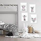 Set de 4 láminas de Animales Infantiles Con Chicle Rosa ,en tamaño A4, Poster papel 250 gr alta calidad. Sin Marco