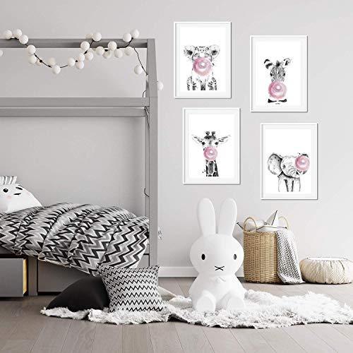 Set de 4 láminas de Animales Infantiles Con Chicle Rosa, en tamaño A4, Poster papel 250 gr. Sin Marco
