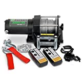 STEGODON 3000 lb. Load Capacity Electric Winch,12V Steel Cable Winch with Wireless Handheld Remote and Wired Handle,Waterproof IP67 Electric Winch with 4-Way Roller Fairlead(Matte Black)
