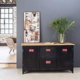MadeinMeuble PAB5 Aparador de diseño industrial con tablero de madera, metal negro