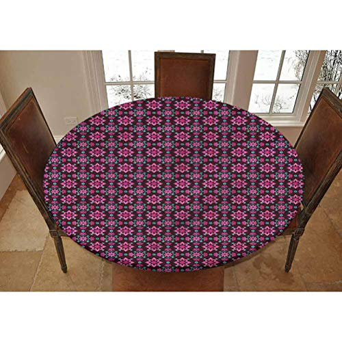 LCGGDB Floral Elastic Edged Polyester Fitted Tablecolth -Boho Botany Foliage- Small Round Fitted Table Cover - Fits Tables up to 40-44' Diameter,The Ultimate Protection for Your Table