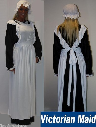 Victorian Maid Hat Pinafore & Dress Size 12-16 Fancy Dress Costume Traditional Edwardian UK