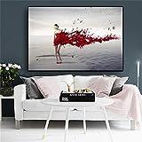 ganlanshu Pintura sin Marco Negro Blanco Rojo Moda Chica Olas Playa póster e Impresiones Pintura nórdicaCGQ7390 50X75cm