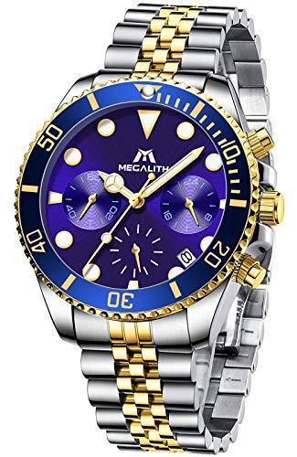 MEGALITH Reloj Hombre Oro Acero Inoxidable Relojes Hombre Cronografo Diseñador Impermeable Reloj Hombre Esfera Azul Negocios Analogico Reloj de Pulsera Cuarzo Fecha Luminosa