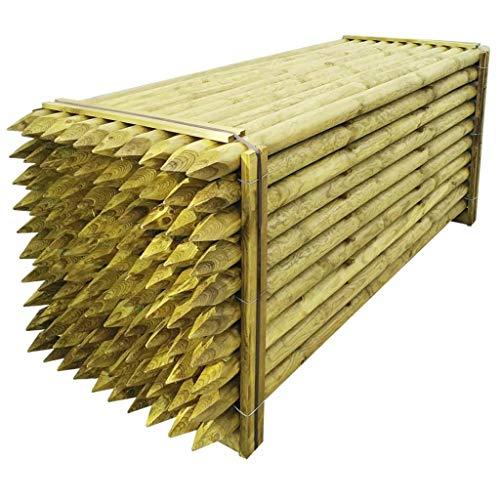 Poteau pointus pour clôture bois 100 pièces 8 x 240 cm. Ce Set de poteaux pour clôture en bois massif sont Idéal pour recintare votre jardin