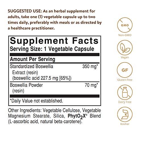 Solgar – Standardized Full Potency Boswellia Resin Extract, 60 Vegetable Capsules