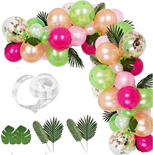 LATERN 83 Stücke Tropische Luftballons Girlande Kit, Palmblätter Ballonstreifen DIY Luau Ballonbogen Girlande für Tropische Thema Geburtstagsfeier Babyparty Dekorationen Hochzeit Hawaii Party