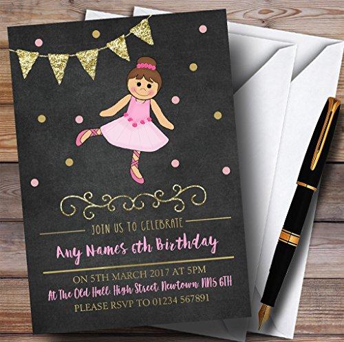 10 x Uitnodigingen Krijt Goud Meisjes Ballerina Ballet Kinderen Verjaardagsfeest nodigt elke bewoording