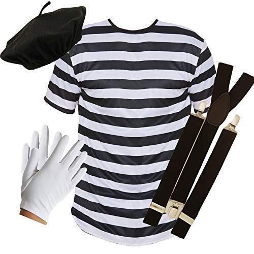 PU - Disfraz de mimo francés de 4 piezas:  camiseta, boina, tirantes y guantes