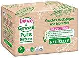 Love & Green Pure Nature - Pañales ecológicos no blanqueados (T2 3-6 kg)