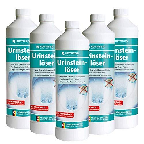 HOTREGA Urinsteinlöser Konzentrat 1 Liter - Urinsteinentferner, WC Entkalker, Urinlöser, Urinentferner, Mengen:5