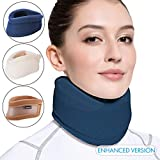 Velpeau Neck Brace -Foam Cervical Collar - Soft Neck Support Relieves Pain & Pressure in Spine - Wraps Aligns Stabilizes Vertebrae - Can Be Used During Sleep (Enhanced, Blue, X-Large, 3.5″)