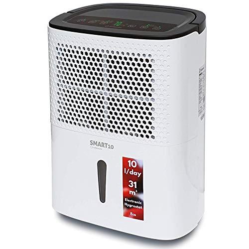 Turbionaire Smart 10 Eco Luftentfeuchter, Extrem leise, Sparsam bis 200 Watt, 10 L / 24h, für Räume bis 31 Kubikmeter, Staubfilter enthalten, Eingebauter Hygrostat