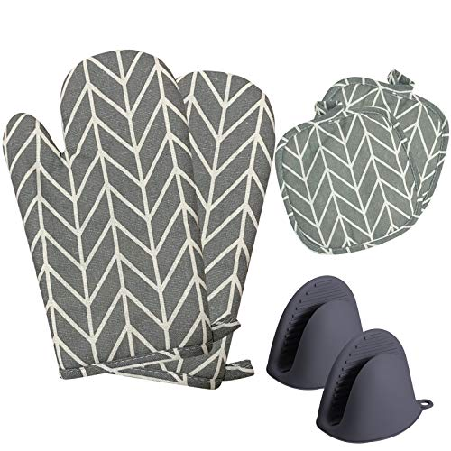 Svkiyang Topfhandschuhe Kochhandschuhe Topflappen Handschuh Ofenhandschuhe Hitzebestaendig Backofen Handschuhe Oven Gloves (Dunkelgrau)