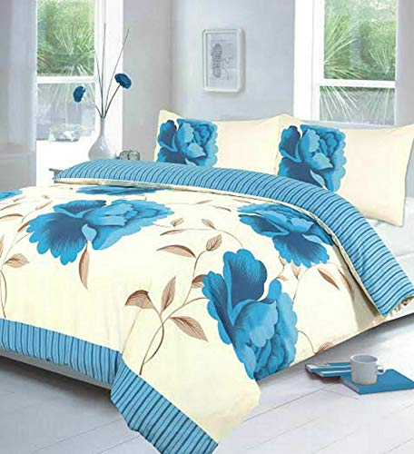 Night Zone Rosaleen (Teal) Duvet/Quilt Cover With Pillow Cases Bedding Set Printed Or Curtains Attractive Flower Designs Sold By National textile Ltd (Curtains (66' x 72'))