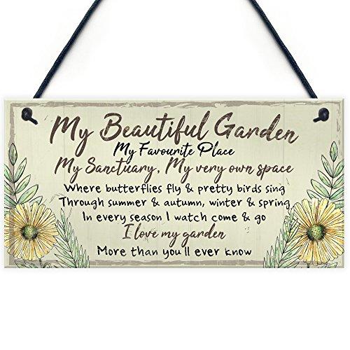 RED OCEAN Beautiful Garden Plaque Summer House Sign Garden Shed Friendship Mum Nan Gift