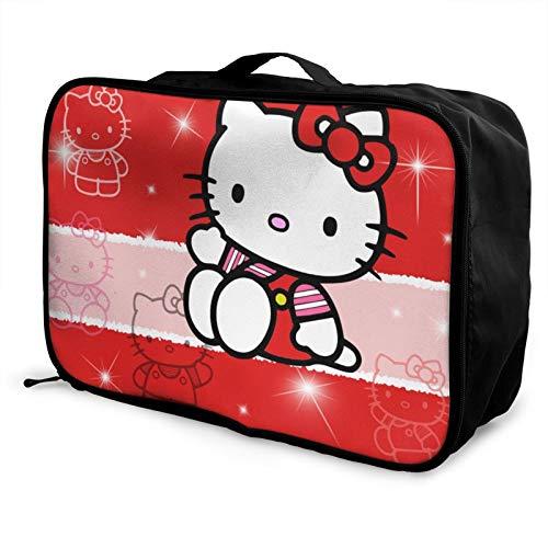 Hello Kitty Cartoon Anime Cute Cat Red Travel Storage Box Maleta de equipaje Trolley Cosmético Impermeable Ligero Gran Capacidad Bolsa de Viaje de fin de Semana de Viaje Durante la Noche