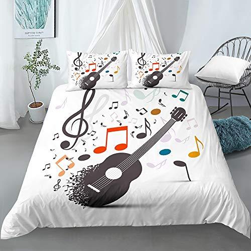 JOEYFAYE Guitar Symbol Duvet Cover 135 * 200Cm, Microfiber Bed Ding Set With Pillowcase50*75Cm, Zipper Closure. Music Guitar