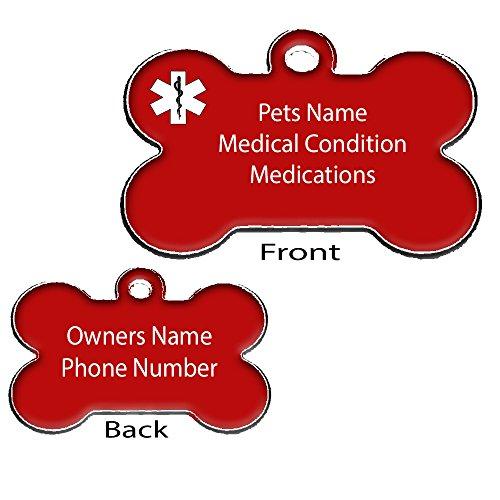 Medical Pet ID Tags - Medical ID - Dog Bone Shape - Dog ID Collar Tag Black, Blue, Red - Free Engraving (Red)