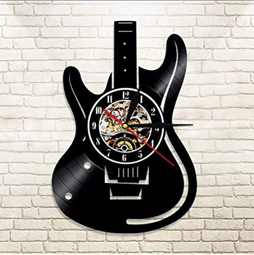 Mubgo Wandklokken, vinyl record led-wandklok modern design muziekthema gitaar klok wandklok huisdecoratie muziekinstrumenten cadeau voor muziekliefde