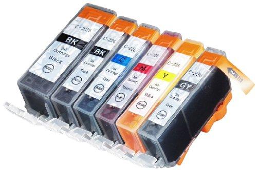 Blake Printing Supply 6 Pack Compatible CLI-226, PGI-225 1 Small Black, 1 Cyan, 1 Gray, 1 Magenta, 1 Yellow, 1 Big Black