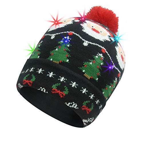 Vingi LED Leuchtende Mütze Weihnachtsmütze mit 6 bunten Lichtern Unisex Winter Schneehut Urlaub Party Beanie Cap - Mehrfarbig - Medium