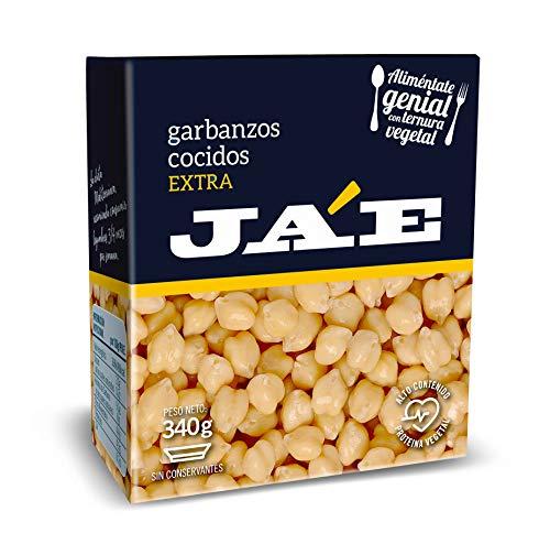 Ja'E Garbanzo Cocido, Legumbres En Conserva Sin Gluten, Tetra Pak 340 Gramos Caja X8- Ja'e, 2880 g - Pack de 8