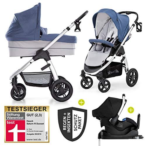 Hauck 12-teiliges Kinderwagen-Set 3in1 - Saturn R Duoset - inkl. Babyschale & Isofix-Basis fürs Auto und Zubehörpaket, Kombikinderwagen ab Geburt bis 25 kg - Denim Silver