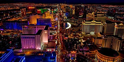 PYenff Rompecabezas, Overlooking The Night View of The Beautiful City of Las Vegas, USA 500 Pieces Photo Jigsaw Puzzle DIY Toys for Adults Decoration Collectiable
