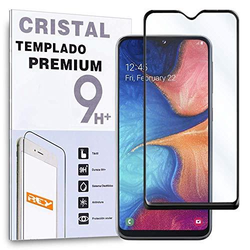 REY Protector de Pantalla Curvo para Samsung Galaxy A20e, Negro, Cristal Vidrio Templado Premium, 3D / 4D / 5D