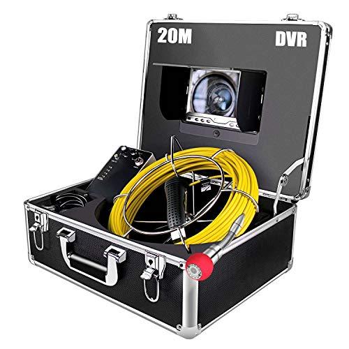 """Rohrkamera mit Licht 20m Inspektionskamera mit 8GB SD-Karte Wasserdicht IP68 Pipeline Video Kanalkamera mit DVR-Recorder Industrie Rohr Endoskop Kanal Kamera mit 7\"""" HD 1000TVL LCD-Monitor"""