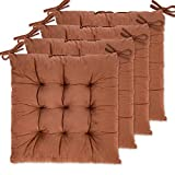 WONDER MIRACLE 4 Pack Seat Cushion/Chair Cushion Pads for Dining Chairs, Office Chair, Car, Floor, Outdoor, Patio,Machine Wash & Dryer Friendly (Flannel 16'×16', Coffee)